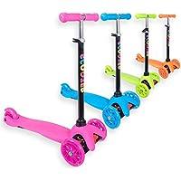 Staro Scooter 3 - Ruedas con luz LED de altura ajustable para niños de 2 a 10 años, rosa, 3-5 years old