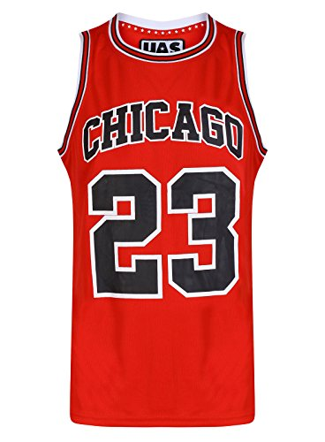 Mens Chicago Basketball Jersey Gym Vest Sports Top UrbanAllStars Sleeveless Tee (L, Red)