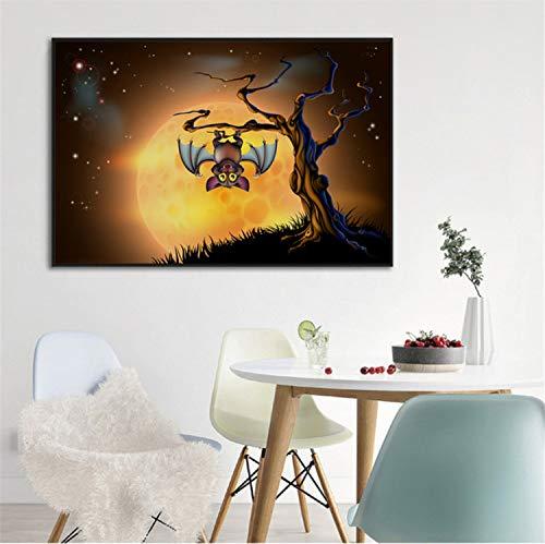 Malerei Halloween Fledermaus Kürbis Schädel Kratzbaum Wandkunst Mond Poster Drucken Abstrakte Bild Für Wohnzimmer Dekor 40 * 60 cm ()