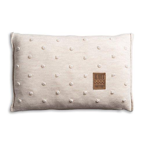 Knit Factory 1071312 Dekokissen Strickkissen Noa mit Füllung, 60 x 40 cm, beige