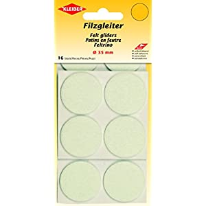 Kleiber Filzgleiter Ø=35mm, selbstklebend, Polyester, weiß, 3,5 x 3,5 x 0,3 cm