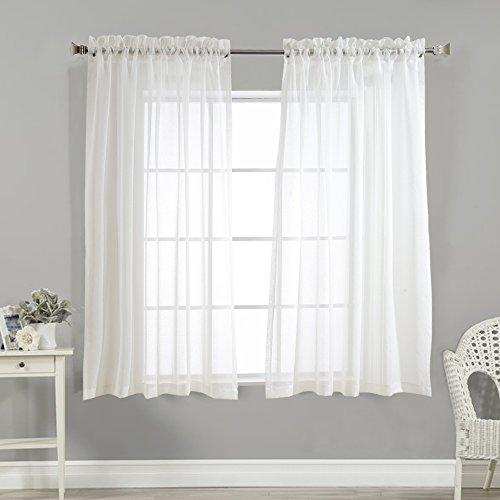 TOPICK Voile Vorhang mit Stangendurchzug transparent Gardine 2 Stücke Gaze paarig Fensterschal Vorhänge 160 cm x 140 cm ( H x B ),2er-Set,Weiß
