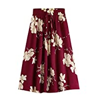 SheIn Women's A Line Drawstring Elastic Waist Single Breasted Pleated Midi Skirt Burgundy Small