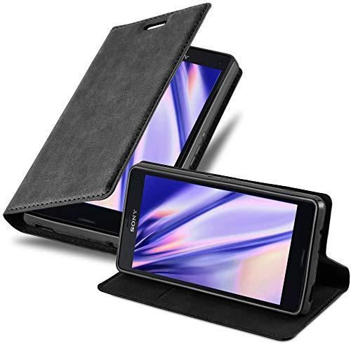 Cadorabo Hülle für Sony Xperia Z3 COMPACT - Hülle in Nacht SCHWARZ - Handyhülle mit Magnetverschluss, Standfunktion und Kartenfach - Case Cover Schutzhülle Etui Tasche Book Klapp Style