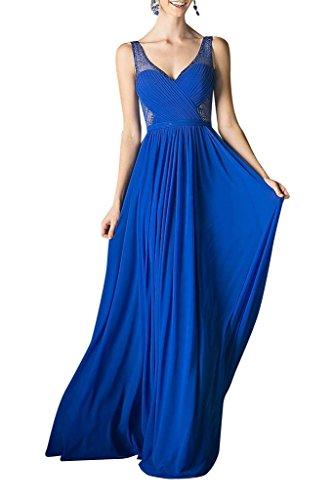 La_Marie Braut Sexy Dursichtig V-ausschnitt Brautjungfernkleider Abendkleider Celebrity Partykleider A-linie Neu Royal Blau