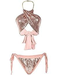 Eozy Women Halter Neck Sequin Bra Underwear Suit Two Pieces Bikini Set Pink