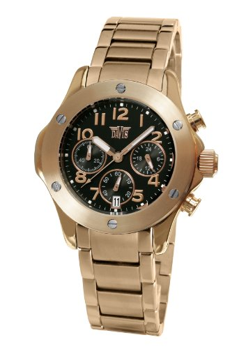 Davis Rose gold Fashion Ladies sport Chronograph  waterproof 50M Pink Gold Metal strap watch