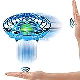 SPECOOL Mini Jouet Volant UFO Drone Avion Interactive Infrarouge Induction Hélicoptère Capteurs Rotatif à 360 ° Contrôle Manuel avec Lumière LED Cadeau (Bleu)