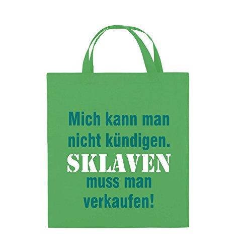 Comedy Bags - Mich kann man nicht kündigen. Sklaven muss man verkaufen! - Jutebeutel - kurze Henkel - 38x42cm - Farbe: Schwarz / Weiss-Neongrün Grün / Türkis-Weiss