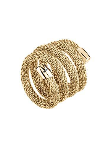 Breil - anello donna collezione new snake - gioiello modellabile in maglia mesh metallica di acciaio lucido - lunghezza 20 cm - oro/gold - tj2720