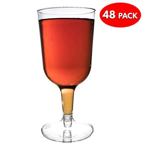 Pacchetto con 48 bicchieri di vino usa e getta in plastica trasparente - Ideale per le feste di Natale - Perfetto perì attività all'aperto ed eventi speciali