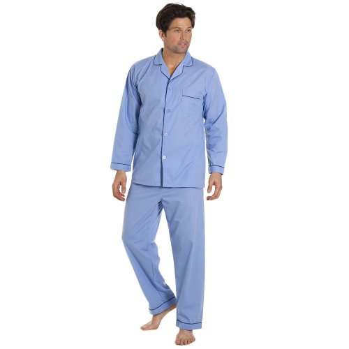 Herren Pyjama - klassisch, bequem und atmungsaktiv XXL SKY BLUE (Tasche Fenster Mit Anzug)
