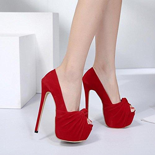 Best Ruffled Estate toe Tacchi Red da CM Peep Pompe sposa Piattaforma alti Scarpe Scamosciata Scarpe Sandali da 15CM 4U® 5 donna zqpxrOAw0z