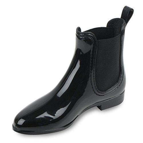 Bequeme Stiefeletten | Damen Chelsea Boots | Gummistiefel Lack Schuhe Schwarz