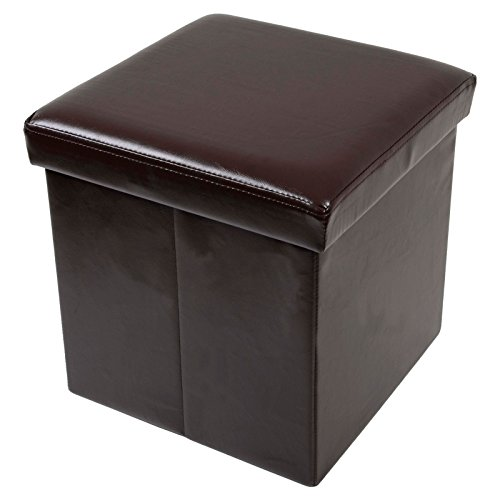 folding-storage-stool-with-lid-brown-faux-leather-38cm-cube-pouffe-seat-ottoman