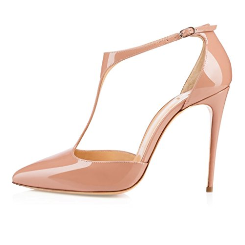 EDEFS Femmes Artisan Fashion 120MM Escarpins Brillants Bout Pointus Bride Cheville Des Couleurs Chaussures à talon haut Argenté Beige