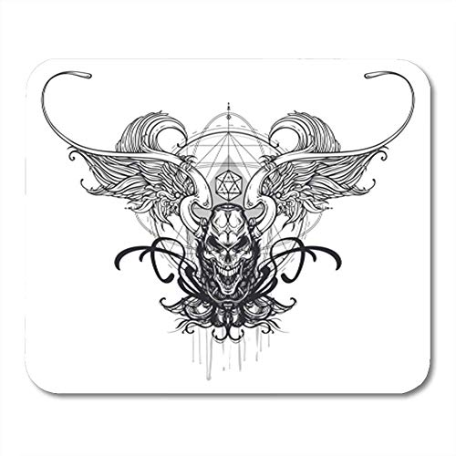 Gaming Mauspads, Alchemy of Arms with Skull with Angelic Wings Graphic Sketch for Tattoo Hipster Bone 11.8