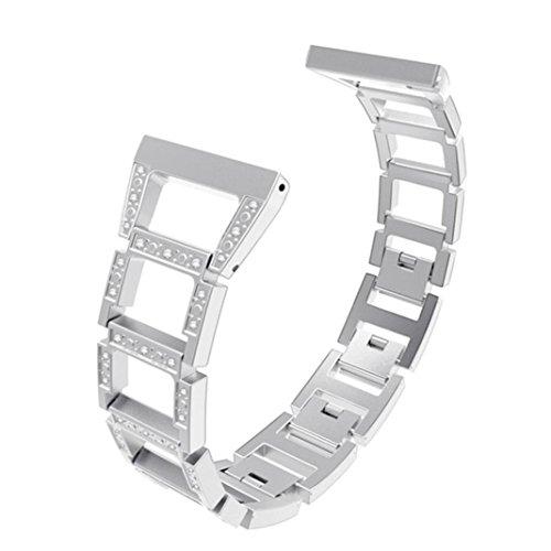 IGEMY Diamantgravierte Trapezband für Fitbit Versa, Luxus Edelstahl Ersatz Zubehör Armband (Silber)
