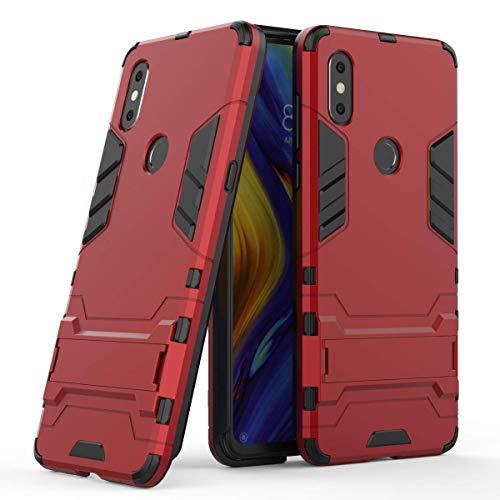 HDRUN Xiaomi Mi Mix 3 Hülle, 2 In1 Handyhülle Hybrid TPU Silikon Schale PC Doppel schichter Schutzhülle mit Standfunktion für Xiaomi Mi Mix 3, Rot