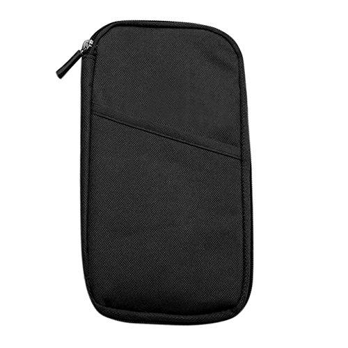 Hrph Multifunktionale Taschen Travel-Pass-Halter Ticket Geldbeutel Handtasche ID Kreditkarte -Kasten-Organisator-Beutel (Schwarzer Gewebe-kasten-halter)