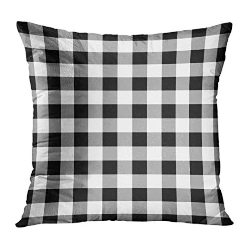 Throw Pillow Cover Abstract Lumberjack Black and White Pattern Trendy Hipster Style Tartan Buffalo Check Plaid Celtic Decorative Pillow Case Home Decor Square 18x18 Inches Pillowcase