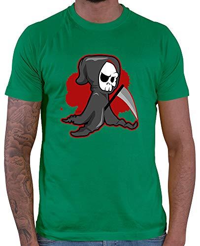 HARIZ  Herren T-Shirt Sensenmann Halloween Kostüm Horror Kürbis Inkl. Geschenk Karte Grün - Grüne Sensenmann Kostüm