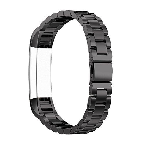 Fitbit Alta Armbänder, Rosa Schleife Fitbit 3 Point Edelstahl Armband Uhrenarmband Smart Watch Band Wrist Strap mit Klassische Edelstahlschließe Ersatzarmband für Fitbit Alta/Alta HR Fitness Armband