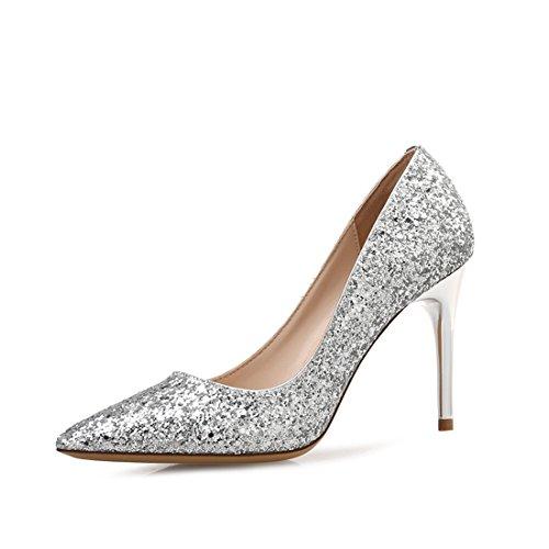 Damen Schuhe Pumps High Heels Stiletto für Party Hochzeit Silber 7CM