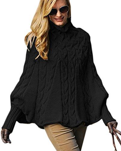 Mikos*Eleganter Damen Poncho Damen Pullover Rollkragenpullover Strickponcho Cape Zopfstickmuster Warm Herbst Pullover (641) (Schwarz)