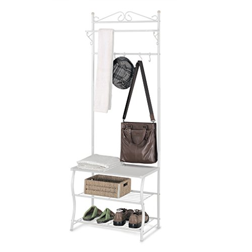 LANGRIA Garderobenständer Schuhablage Entryway Regal Metallaufbewahrung Schuhschrank mit Kleider Garderobe, 3 Ablage und 5 frei Haken, 77,2-83,8 lbs Kapazität, Weiß Finish