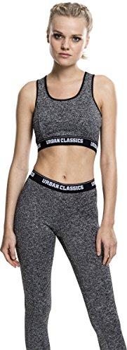 Urban Classics Ladies Active Melange Logo Bra, Soutien-Gorge de Sport Femme Mehrfarbig (Charcoal/White/Black 1177)