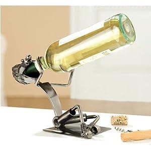 GILDE Dekorativer Flaschenhalter SCHLUCKSPECHT 28cm aus Metall 65062