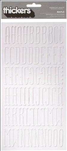 American Crafts 6x 27,9cm Thickers Vinyl Puffy Aufkleber Blatt, 2Stück, Ahorn, weiß (Vinyl-thickers)