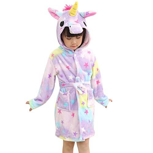 chicolife Unisex Ragazza Ragazzo Camicia da Notte Accappatoio Unicorno Fleece Loungewear per Bambini Star 140