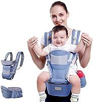حامل اطفال بمقعد للخصر مزود بصندوق تخزين قابل للتهوية، مريح وامن للاطفال حديثي الولادة من سن 1 الى 48 شهرًا، ي