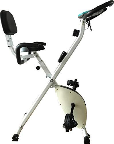 Schmitt und Schrapel Fitnessbike, Heimtrainer Bike SBX-011 | klappbar | Magnetbremse | Fitness Bike | Rückenlehne | platzsparend | Hand-Pulsmesser | Smartphone Halter | LCD Anzeige