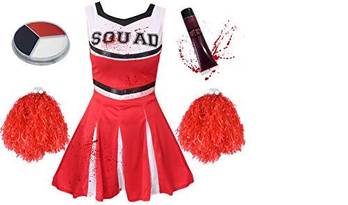 ILOVEFANCYDRESS Zombie Cheerleader KOSTÜM VERKLEIDUNG= 5 Farben + 6 GRÖSSEN= Kleid HAT DIE Aufschrift = Squad = KOMMT MIT SCHMINKE +Pompoms+KUNSTBLUT=ROTES (Fußball Kostüm Für Paare)