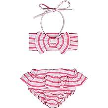 Bebé Niña de Traje de Baño de Impresión de Raya con Arco y Cabestro Bañador 2 Piezas