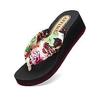 AFFINEST Woman's Lightweight Platform Flip Flop Wedge Sandals High Heel Cloth Straps Arch Support Outdoor Walking Thong Slippers (Black/Brown,EU38)