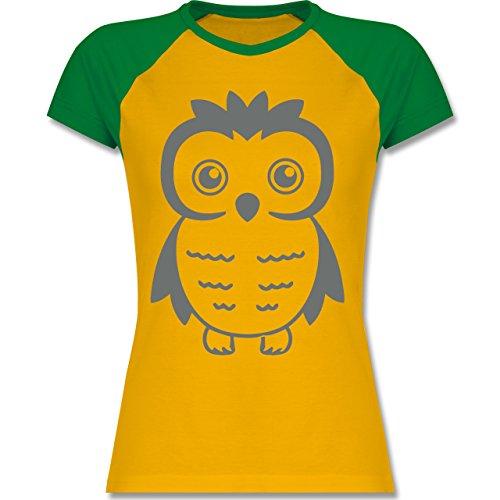 Eulen, Füchse & Co. - Eule - zweifarbiges Baseballshirt / Raglan T-Shirt für Damen Gelb/Grün