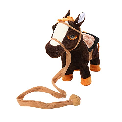 elektrisches pferd PerGrate Elektrisches gehendes Pferdplüsch spielt batteriebetriebenes Plüschtier Kinder Spielzeug