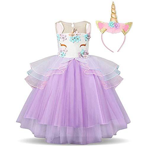 NNJXS Mädchen Einhorn Blume Rüschen Cosplay Party Hochzeit Prinzessin Kleid (Color : C-2, Size : 3-4Years)