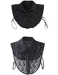 Pixnor Floral escote cuello desmontable media camisa blusa 2pcs femenino