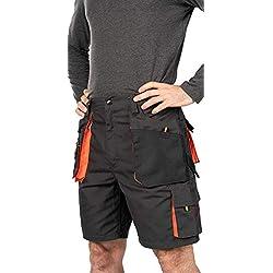 Shorts de Travail Homme, Cargo Shorts Hommes ete, Coton/Poly 260 GR, multipoche, Pantalon Cargo Homme, Grandes Tailles, Bermuda de Travail, Vetement ete (XL, Noir/Orange)