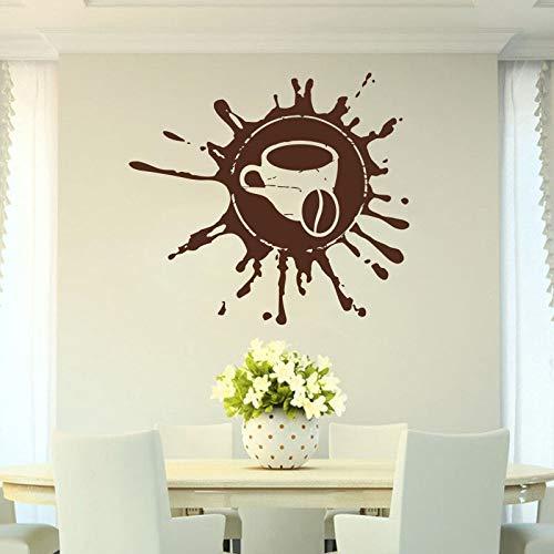 zhuziji Kaffee, Getränk, Cappuccino, Heißgetränk, Getreide, Café, Lebensmittel, Wandtattoo Fensteraufkleber Handm38x42cm
