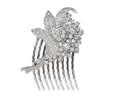 azzaria Grappe Cristal Autrichien Fleur Feuilles Peigne... Longueur : 6 cm