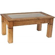 Mesa de centro rústica de madera de pino encerada