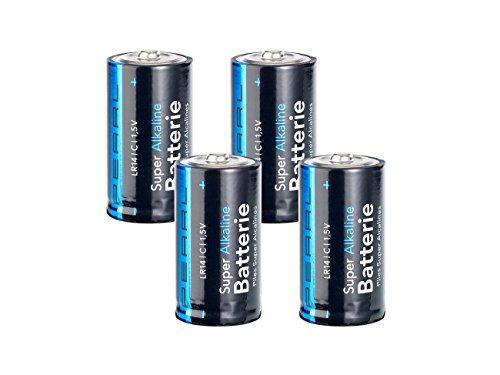 PEARL Batterien LR14: Sparpack Alkaline-Batterien Baby 1,5V Typ C im 4er-Pack (Batterien Baby c 1 5 Volt) Mobile Batterie Pack