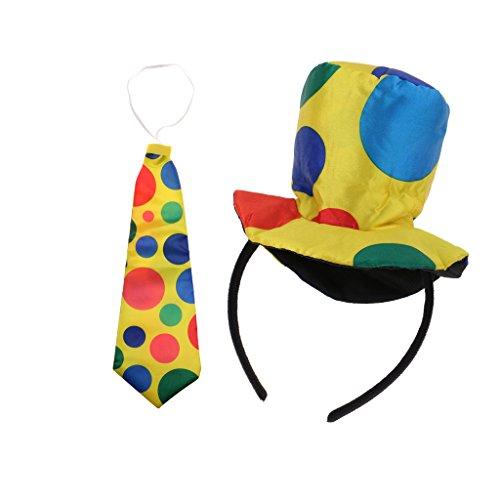 Gazechimp Bunt Clown Hut Haarreif + Krawatte Zirkus Party Kostüm (Zirkus Dot Kostüm Polka)