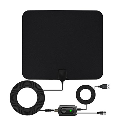 TV Antenna, HDTV Indoor Antenna with Portable Amplifier, 60-80 Miles Reception Range, Get Many Free TV Channels, Easy to Use and Install